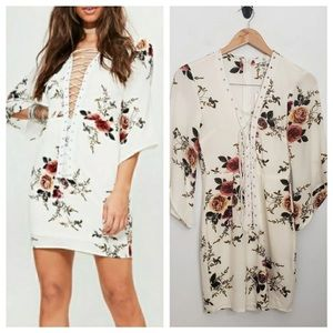 Missguided lace up floral dress